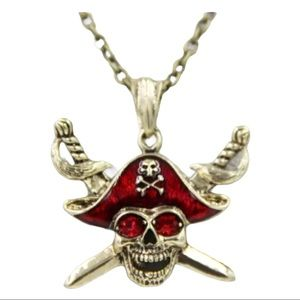 Red Pirate Skull with Double Swords Necklace